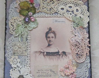 Shabby Chic Collage on Canvas - Antique Lace, Ribbonwork, Trims - One of a Kind