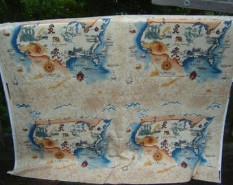 Disney Port Orleans USA map fabric Mickey Mouse Goofy Minnie Donald Duck, WDW