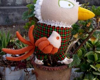 Ooak Plush Toy for Children Minah bird in Green Red Brown or Beige