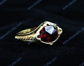 robe wizard ring fire ring large red stone ring---925 sterling silver ring