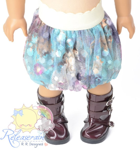 "Light Pale Yellow Elastic Band Waist Blue/Purple Fantasy Wonderland Mesh Tulle Bubble Skirt Doll Clothes Outfit for 18"" American Girl dolls"