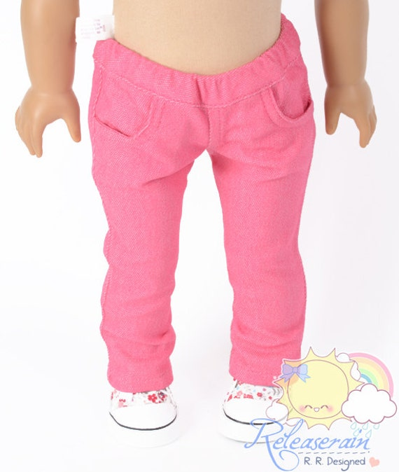 "Doll Clothes Outfit Elastic Banded Waist Cherry Pink Denim Jeans Pants Trousers for 18"" American Girl dolls"