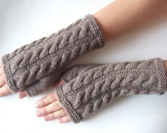 Handmade brown fingerless gloves, wrist warmers, fingerless mittens. Knitted of 100 % wool.