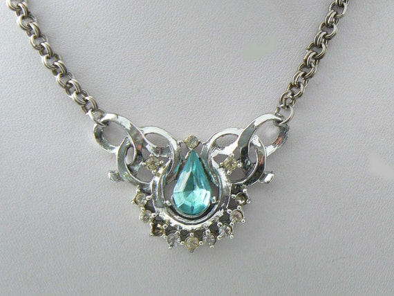 Bogoff blue rhinestone necklace by vintagelanejewelry on etsy for Bogoff vintage costume jewelry