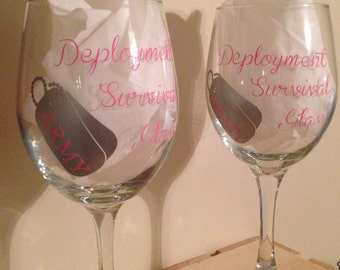 Deployment Survival Glass- Army Air Force Marines Navy