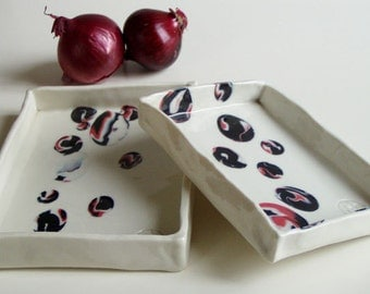 Tray in white porcelain with blacks and reds inlays for starters and sweets - Two Set - OOAK
