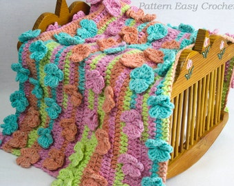 Crochet pattern baby blanket floral - instant download