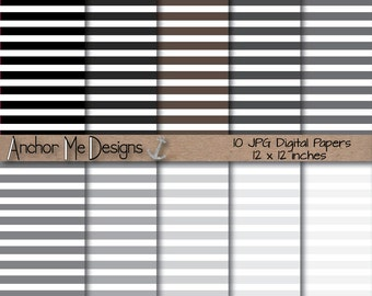 Shades of Gray Thin Striped Digital Paper for Bloggers, Scrapbookers or Backgrounds INSTANT DOWNLOAD