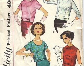 1950s Simplicity 2773 Blouse Pattern, Size 14, Bust 34