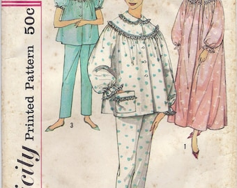 1950s Simplicity 3239 Misses' Pajamas and Nightgown Pattern, Size 14, Bust 34