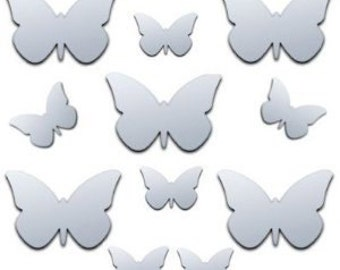 Shatterproof Butterfly Mirrors- Pack of 12 (6 x 6cm x 4cm and 6 x 4cm x 3cm each)