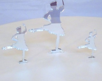 Highland Dancer Cake Toppers in Silver Mirror Acrylic - 10cm / 4""