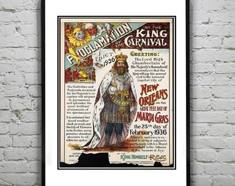 1936 Vintage New Orleans Mardis Gras Art Print Poster King of the Carnival Louisiana