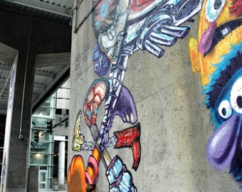Graffiti Girl, playful, colorful, urban, youthful, art. Denver, Colorado, city mural, home decor, print ready to frame.