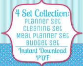 4 PDF Delux Set Instant Download in Pink and Blue: Budget, Cleaning, Meals, Planner