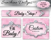Baby Etsy Set Web Banner Design Boa Feather Pink