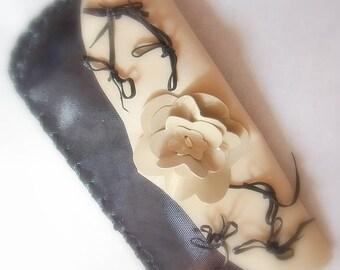 Romantic stylish chic dark grey ivory clutch, flower, princess, genuine leather, spring evening handbag, unique, original, fantasy, handmade