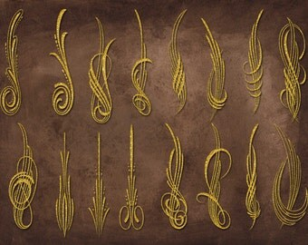 Digital Gold Ornamentals Clip Art - INSTANT DOWNLOAD- Scrapbook Supplies  for Personal or Commercial Use/Gold Clipart- Digital Gold Png