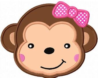 Girl Monkey Applique Machine Embroidery Deisgn NO:0005