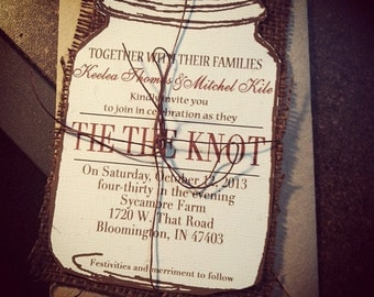 Mason Jar Wedding Invitation with burlap