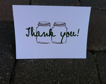 Mason Jar Thank you cards- 25 Count