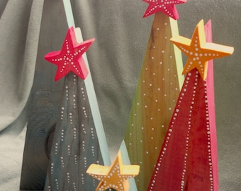 Primitive Rustic Wooden Christmas Tree with Star Reclaimed Wood