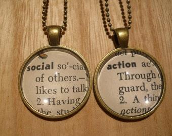 Pick (2)  Social Justice, Diversity Equity Word Pendant Necklaces Set Vintage Children's Dictionary Glass, Round Metal