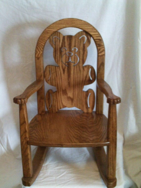 childs teddy bear rocking chair by countryhandswoodwork on etsy. Black Bedroom Furniture Sets. Home Design Ideas