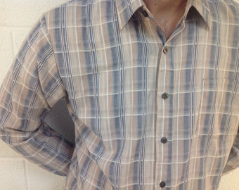 """L/S Striped Shirt """"Kings Road"""" Burgundy, Navy and White - size large"""