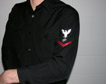 L/S Black Uniform Shirt with Eagle Patch on Left Sleeve - size medium