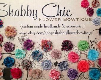 Sale Baby Headband DIY Grab Bag 20 Shabby Flowers Add to Your DIY Lot Kit Baby Shower Birthday Frayed Flower
