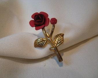 Vintage Gold Tone Red Rose Brooch