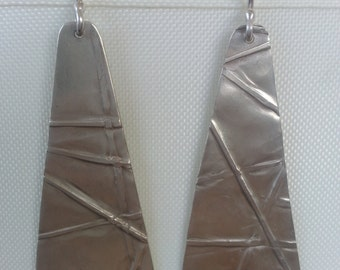 Handmade Sterling Silver Foldformed Earrings
