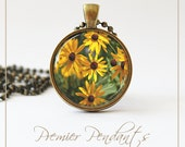 CLEARANCE PRICE! Black Eyed Susan Flower Necklace Pendant Photo Image Jewelry Michelle Meyer Original Yellow Daisy 0115AGC