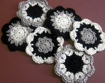 Handmade cotton flower motifs appliques in black white and gray shades 2 inches wide set of 6