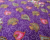 RESERVED Cotton Fabric with batik floral ornament, violet, golden ocher, fabric for clothing, home decor, handbags 1.3 x2.2 yards