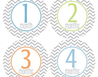 Baby Monthly Stickers, Monthly Baby Boy Stickers, Baby Month Milestone Stickers - Baby Boy, Baby Shower Gift, Grey, Blue, Chevron