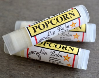 Popcorn Lip Balm, natural lip balm with coconut oil, beeswax, avocado oil, paraben free beauty