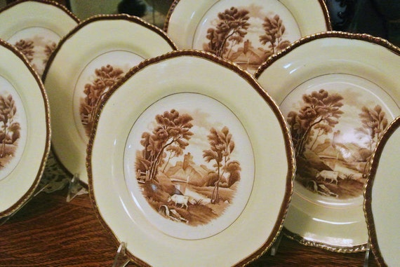 Antique Plates Wood Sons England The Grenville Polychrome Transferware Set Porcelain China Earthenware Cow Pasture Scene Scenic Landscape