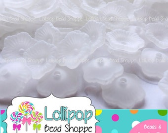 WHITE Lucite FLOWER Beads Frosted Beads Transparent Beads 11mm 100 Petunia Flowers Acrylic Bead Cap Plastic Bead Caps Bottle Cap Beads
