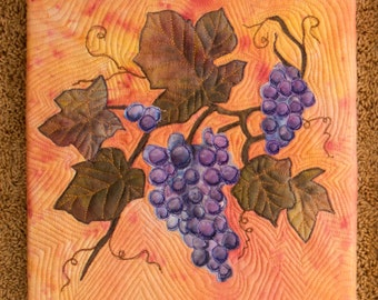 Hand painted fabric, wallhanging - Grapes