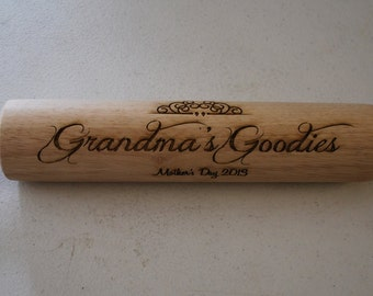 Laser Engraved Rolling Pin  Engraving Free,  Ships within 48 hours!