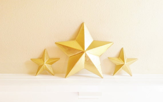 Items Similar To Gold Star Wall Decor, Set Of Gold Stars