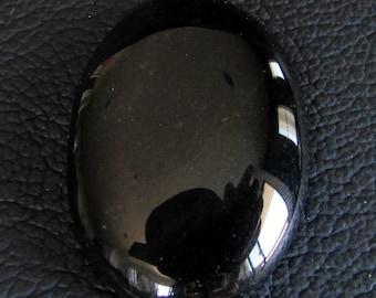 loose gemstone oval shaped black agate cabochon 35.05 ct (AG20)