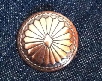 "3 - Copper Concho Buttons  -  3/4"""
