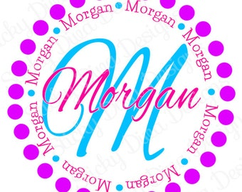 PERSONALIZED STICKERS - Custom Colorful Girly Dots Monogrammed Labels - Round Gloss Labels