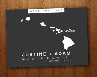 Hawaii Save the Date Wedding Printable Postcard