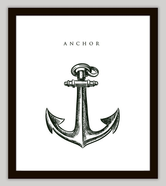 Anchor nautical home decor wall art by printsofbeauty on etsy for Anchor decoration