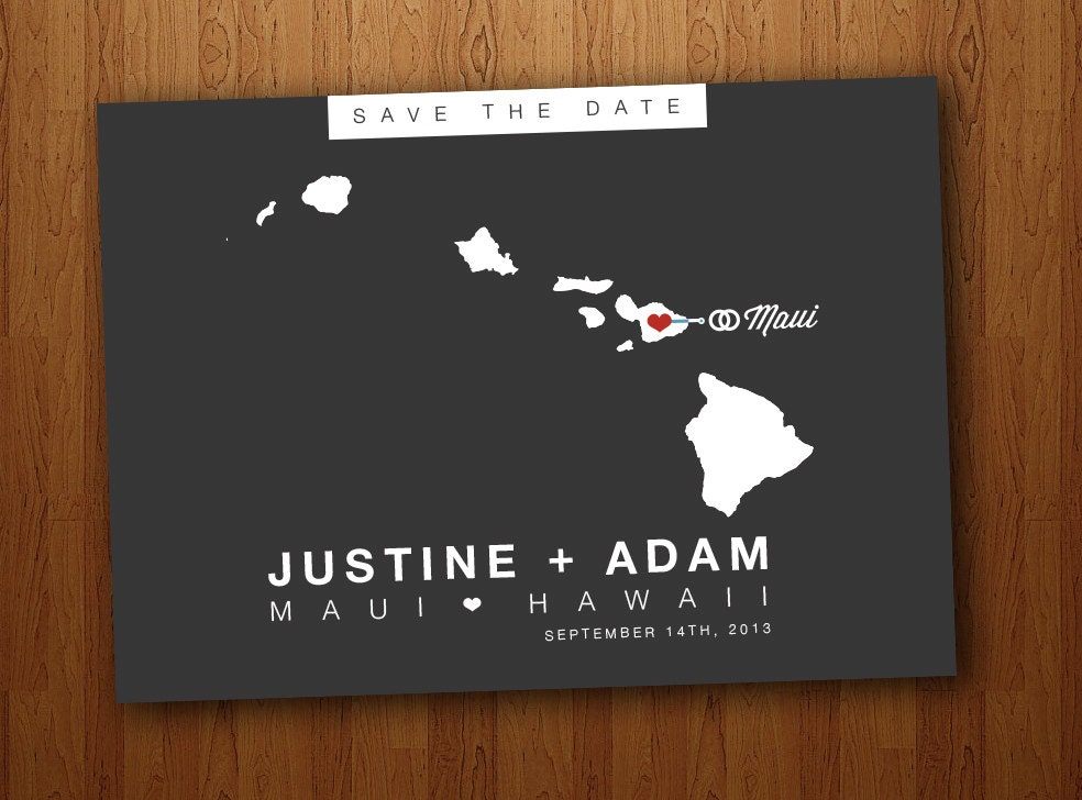 Wedding Save The Date Postcards: Hawaii Save The Date Wedding Printable Postcard