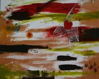 Abstract WOW Painting HUGE Outsider Art RAW 32x48-1/2